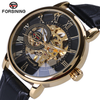 Forsining 3d Logo Design Hollow Engraving Black Gold Case Leather Skeleton Mechanical Watches Heren Horloge Men
