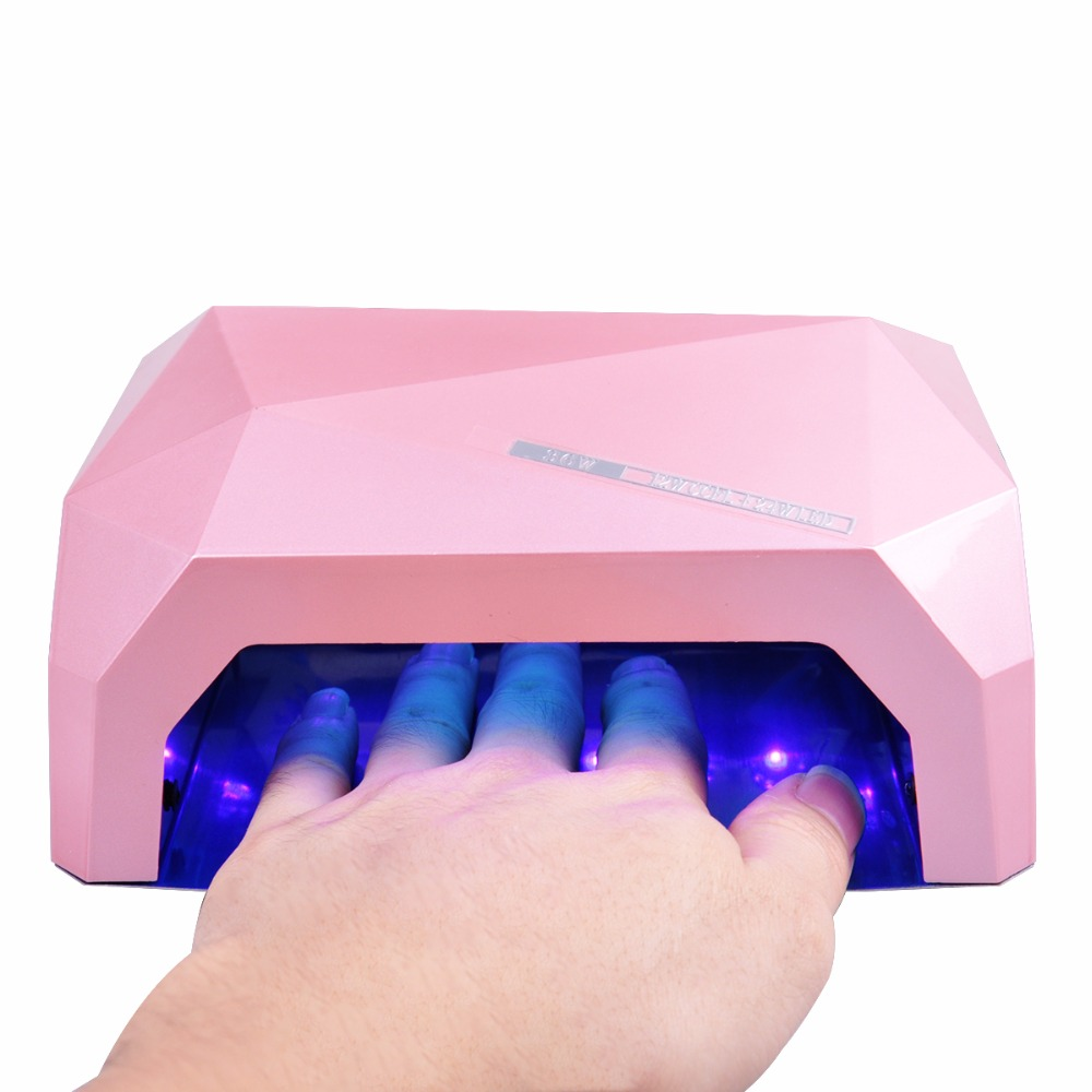 AUTO LED UV Nail Lamp Nail Dryer Diamond Shaped 36W LED Light 10s 30s 60s Curing for UV Gel Nails Polish Nail Art Tools 36w uv led lamp nail dryer 4 color diamond shaped led uv lamp nail lamp curing for uv led gel nails polish nail art tools