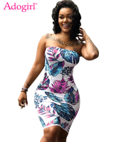 Adogirl Leaves Print Strapless Plus Size Summer Dresses Women Sexy Bodycon Mini Night Club Dress High