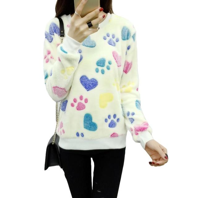 Cute Pattern velvet warm sweater women Pullover Winter Sweaters 2017 fashion Jersey Mujer Womens Jumpers Christmas Sweater