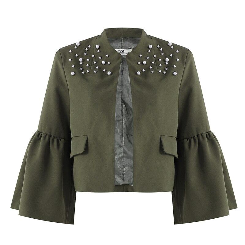 Womens   Jacket   2018 Elegant Ruffles Flare Sleeve Coats Casual Solid Autumn   Basic     Jacket   for Women Cardigan Crop Top Outerwear 3XL