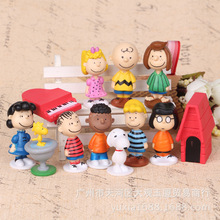 12pcs set Charlie Brown And Friends Beagle Woodstock Peanuts Girl Kid Toy Animiation Action Figure Kids