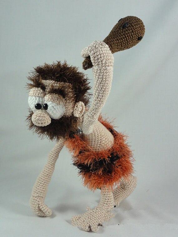 Amigurumi Crochet  Clifford the Caveman toy doll rattles caveman dave