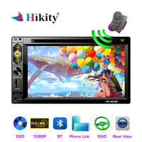 Hikity 2 din Car Radio 6.2'' Mirror link Bluetooth MP5 DVD/CD Stereo 2DIN Multimedia player FM AUX/USB/SD/TF Audio backup Camera