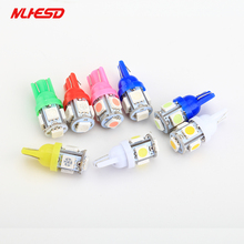 100pcs/lot Truck led 24V T10 W5W 5 SMD 5050 LED 5SMD 5LED Clearance Light Parking Light Indicator Reading Lamps white blue 24V