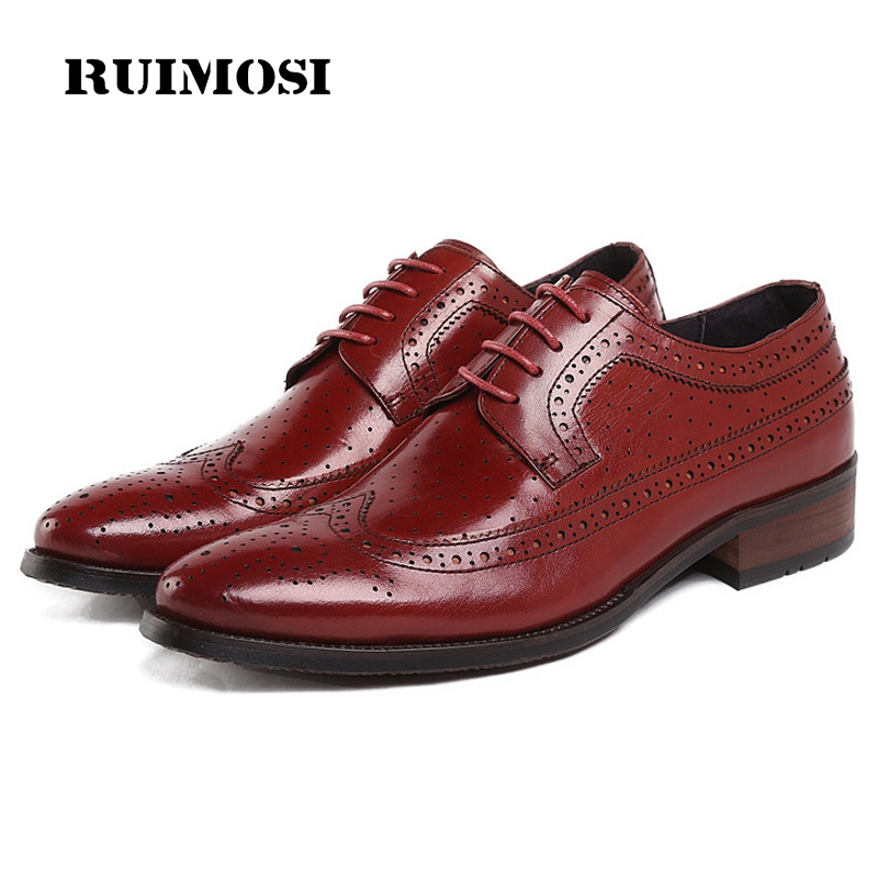 RUIMOSI Summer Style Man Wing Tip Brogue Shoes Genuine Leather Breathab Oxfords Pointed Derby Men's Handmade Footwear Flats FK54