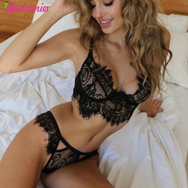 4cfa23115660e Black White Lace Women's Sexy Lingerie Underwear Set Eyelash Lace Hollow  Out Lingerie Sexy Hot Erotic