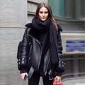 [Twotwinstyle] 2017 inverno grosso casaco de peles de couro mulheres casacos básicos mangas compridas nova motocicleta streetwear