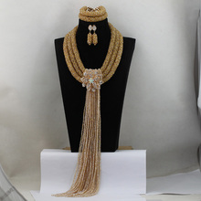 Luxury African Gold Crystal Costume Women Jewelry Set Fashion Nigerian Beads Strands Necklace for Wedding Bride Party Gift QW220