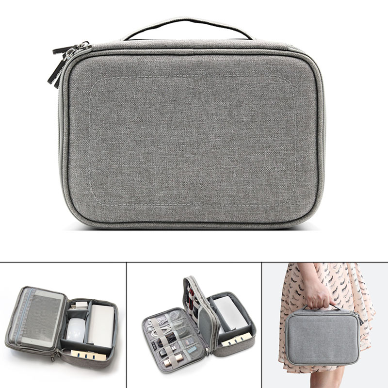 Electronic Accessories Data Cable Organizer Bag Double Layers Travel USB Charger Storage Case EDF88
