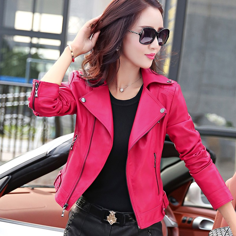2017 spring and autumn clothes short paragraph female leather clothing self-cultivation motorcycle clothing leather jacket women