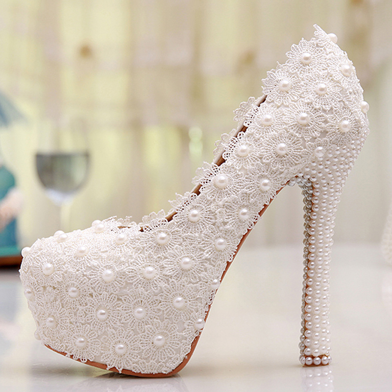 560df4713b7 White Lace High Heel Wedding Shoes Lace Flower Bride Dress Shoes Best Price  Dropshipping Bridesmaid Shoes Adult Ceremony Pumps-in Women s Pumps from  Shoes ...