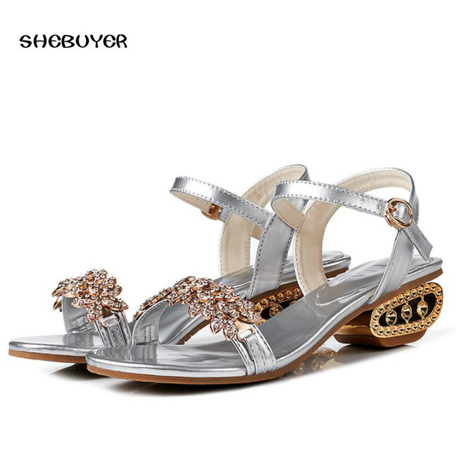bc8df571289 2018 Summer Ankle Strap Women Mid Heel Sandals Fashion Elegant Rhinestone Shoes  Buckle Sexy Crystal Ladies