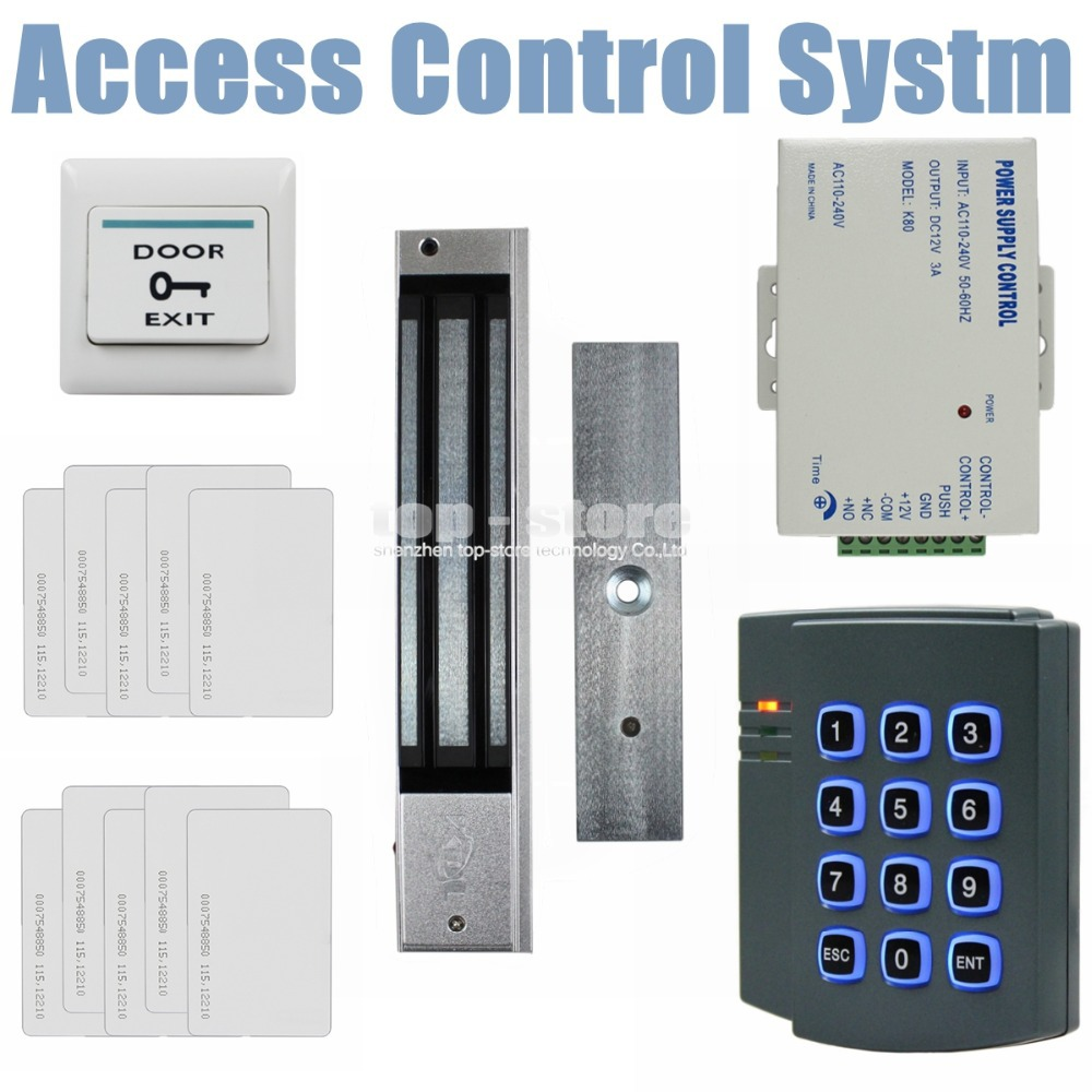 DIYKIT 280KG Magnetic Lock 125KHz RFID ID Card Reader Password Keypad Access Control Sys ...