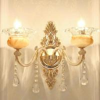 Royal Living Room man made Jade Crystal wall fixtures Lamp Bedroom Aisle Corridor Wall Zinc Alloy big wall sconce led Luminaire