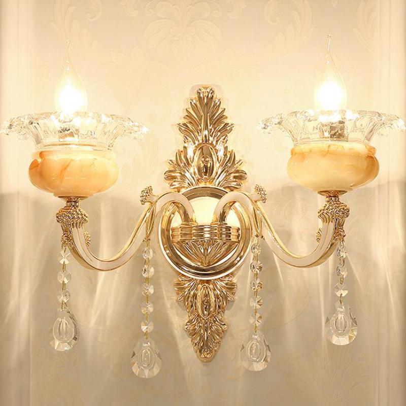 Royal salon artificiel Jade cristal luminaires muraux lampe chambre allée couloir mur en alliage de Zinc grand applique murale led Luminaire