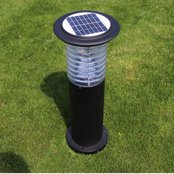LED solaire alimenté en plein air jardin lumière pelouse lampe voie coulée en aluminium acrylique chapeau LED Yard lumières solaires avec interrupteur marche/arrêt