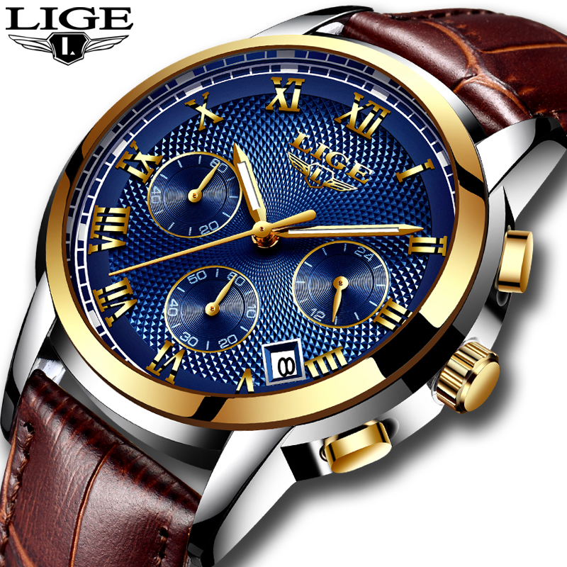 LIGE fashion men s watch top brand luxury chronograph leather quartz watch men s casual waterproof