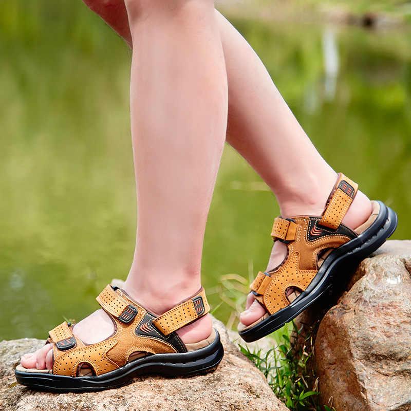 471458467 ... VESONAL Лето 2019 г. Новая обувь из натуральной кожи мужские сандалии  для мужчин повседневное классический