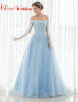 2019 Light Blue Wedding Dresses Off The Shoulder Lace Tulle Applique Floor Length Long Bridal Gowns Vintage Cathedral Train