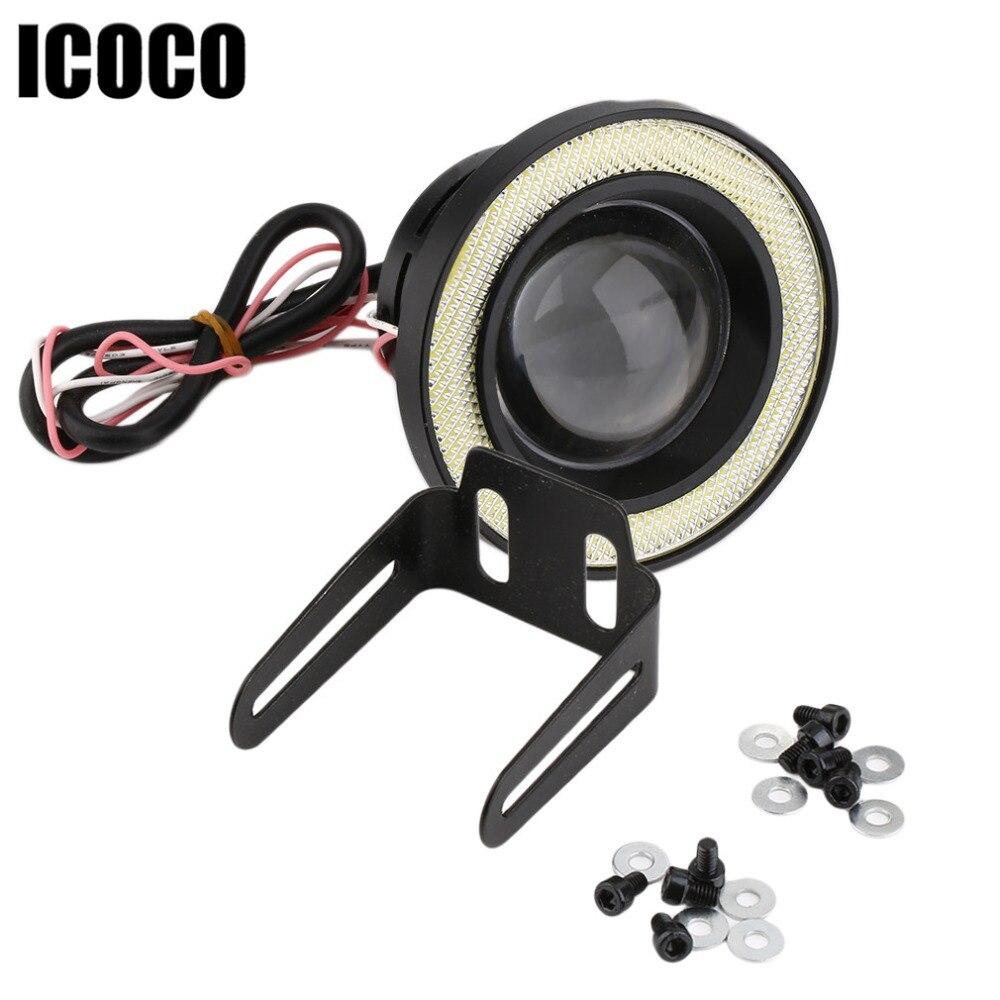 ICOCO 3.5 inch 30W COB Angel Eyes Fog Lights Projector Car LED COB Fog Lamp Daytime Driving Lamp DRL Super Bright