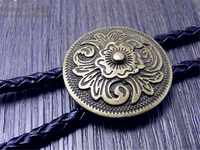 Art Bolo Tie Antique Brass Silver color Flower Totem Round Buckle Adjustable Western Cowboy Novelty Ties