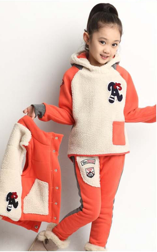 ФОТО 3pcs Children Sports Sets Girls Clothing Set Kids Clothes Autumn Winter Sweatshirts+Vest+Pants Suits 2-12 Years old 6
