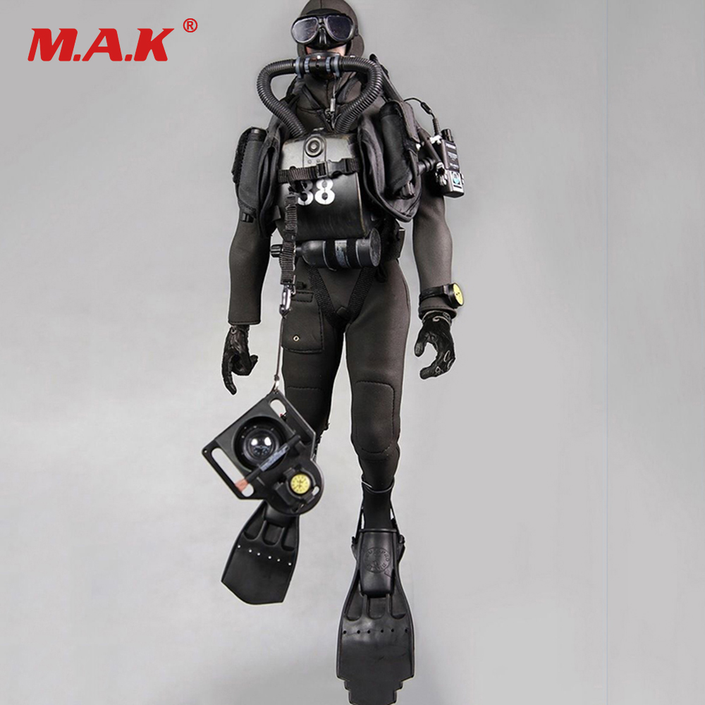 1:6 Scale Combat Diver Set Frogman Set Seal Water Ghost Soldier Clothes Model Clothing Toy for 1/6 Action Figure 1 6 scale soldier enter the dragon bruce lee opponent mr han shi jian clothes set free head carving