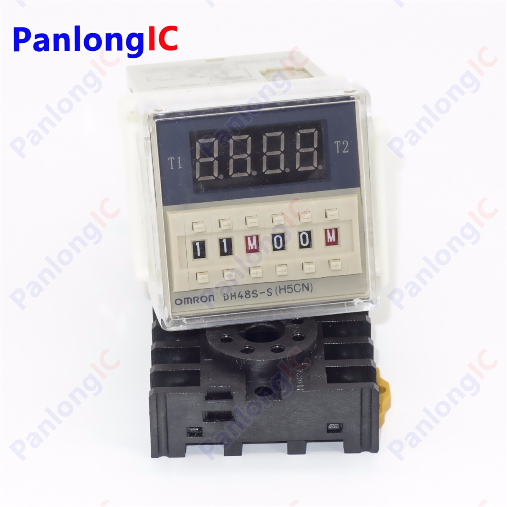 Electronic 220V AC Programmable Double Time Delay Relay DH48S-S Free Socket Base Wholesale price free shipping js14p 1 99s second dpdt 2no 2nc programmable time delay relay ac 220v
