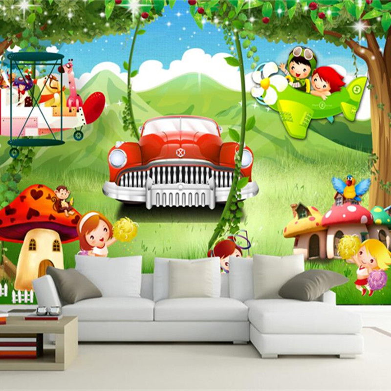 Cartoon Photo Wallpapers For Walls 3D Forest Landscape Wall Murals Children Wallpapers For Living Room Green Trees Home Decor