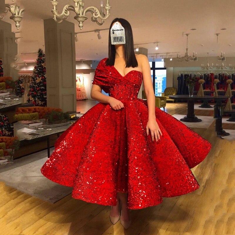 Sequins Evening Dresses Red Robe de soiree Abendkleider Evening Gowns A Line Puffy Arabian Evening Dress
