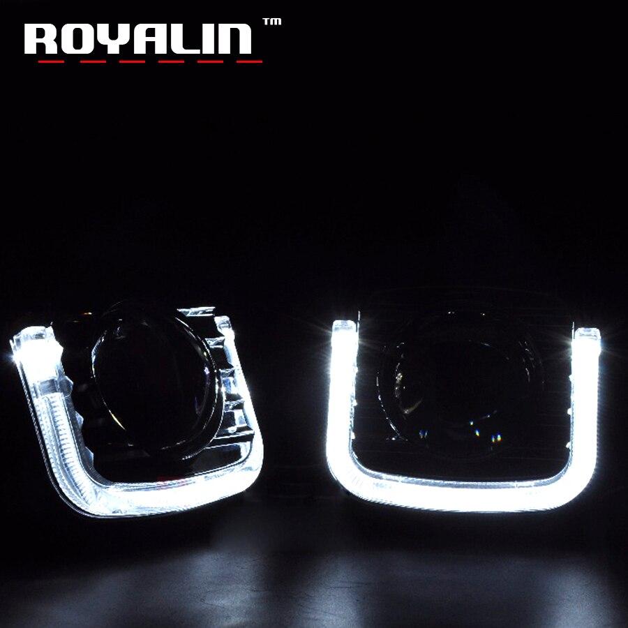 ROYALIN LED DRL Angel Eyes Shrouds U plat lumière de jour Auto voiture style bi-xénon projecteur lentille pour Koito Q5 Hella