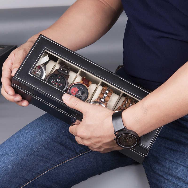 BOBO BIRD PU Leather Display Case Box Watch Jewelry Storage Organizer 6 Slot 10 Slots saat kutusu