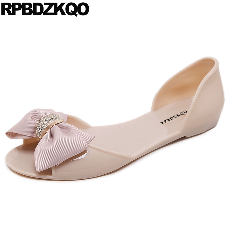 Shoes Crystal Cute Transparent Bow Slip On Pvc Diamond Nice Women Sandals Flat Summer 2018 Nude Bowtie Open Toe Jelly Plastic