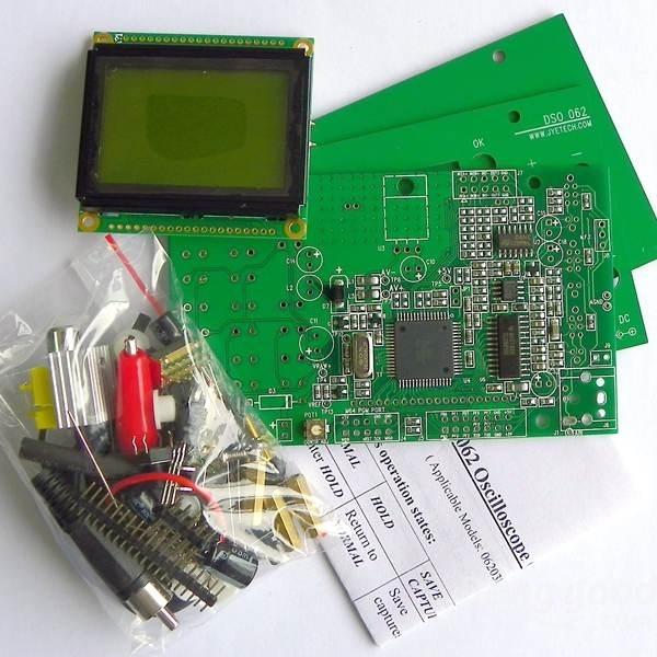 Novo Mini DSO062 profissional 1 MHz 500 KHz Max Largura De Banda Analógica 20MSa/s Osciloscópio Kits DIY