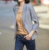 Women Vintage Striped Print Suit Blazer Jacket Three Quarter Sleeve Office Work Thin Coat Plus Size S 4XL