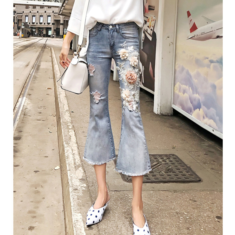 2018 Embroidery Flower Ripped Hole Jeans Women Blue Denim Flare Pants Slim Middle Waist Trousers Calf