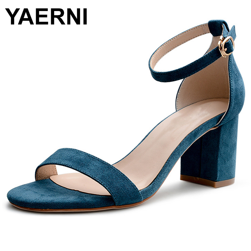 YAERNI Black Beige Pink Concise New Women Shoes Buckle Flock Leather Heel Sandals Square Heel High Heels Shoes Big Size34-40E982