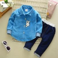 Bohuana 2017 осенние детские комплекты одежды для мальчиков вельветовые Детские костюмы кролик с лацканами рубашка + брюки для мальчиков детские...