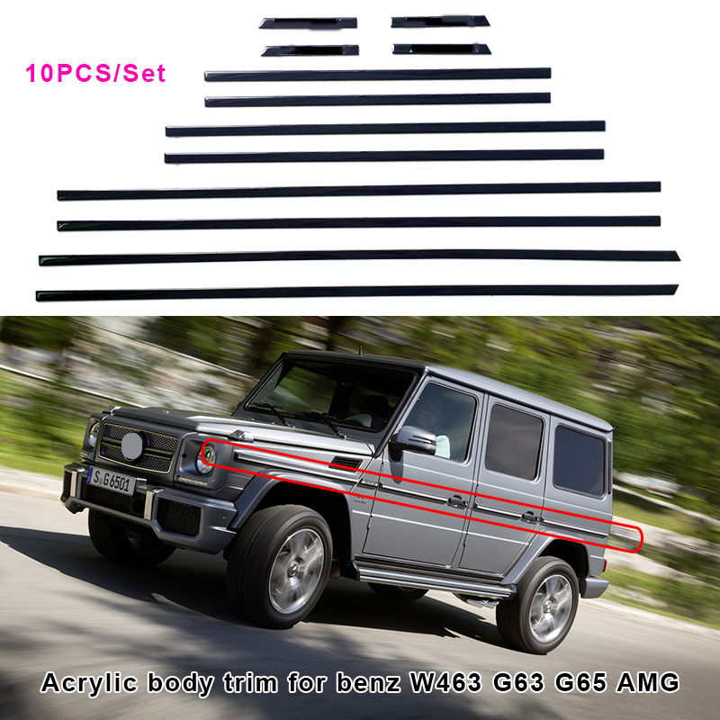 10pcs Acrylic Side Body Molding Trim Accent For Benz AMG BRABUS W463 G63 G65 G500 Sticker Accessories styling car