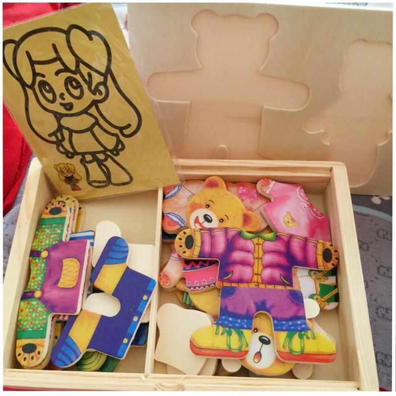 Blocs de jouets en bois Jigsaw Animal Bear Vêtements robes robes de - Jeux et casse-tête - Photo 5