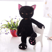 about 40cm black cat plush toy creative design cat doll soft pillow toy,birthday present Xmas gift c919