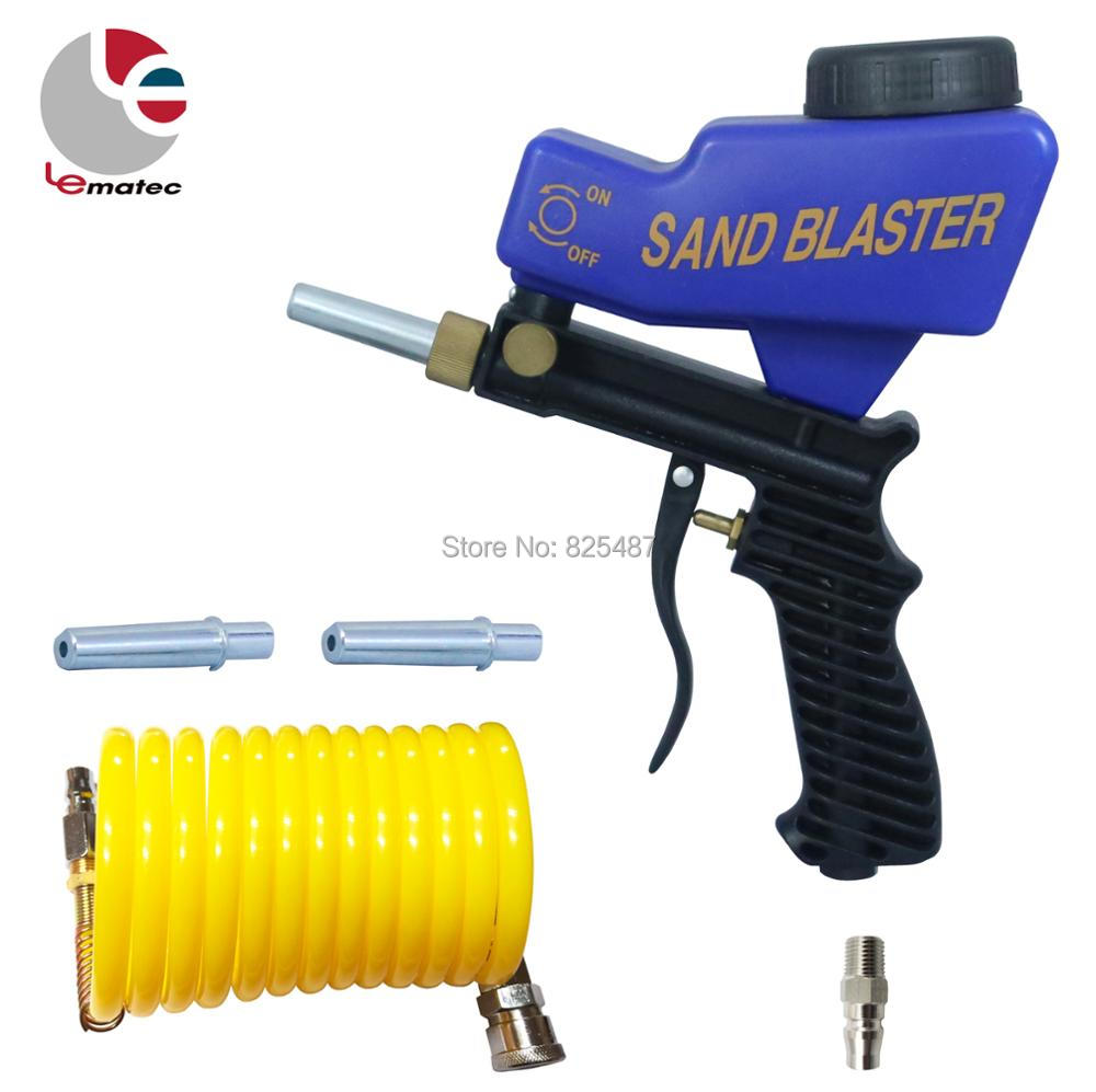 LEMATEC Sandblaster Gun with 1 4 Quick Coupler Connector and Nylon Air Hose Gravity Feed Blasting
