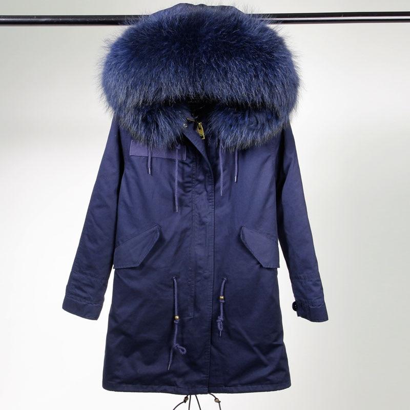 2016 new winter jacket women basic coat 100% real raccoon fur collar pockets loose oversized dark blue warm hooded long parka