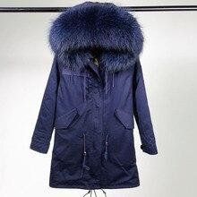 2016 новая зимняя куртка женщины основные пальто 100% реального ракун меховой воротник карманы свободные негабаритных темно-синий теплый с капюшоном длинный куртка