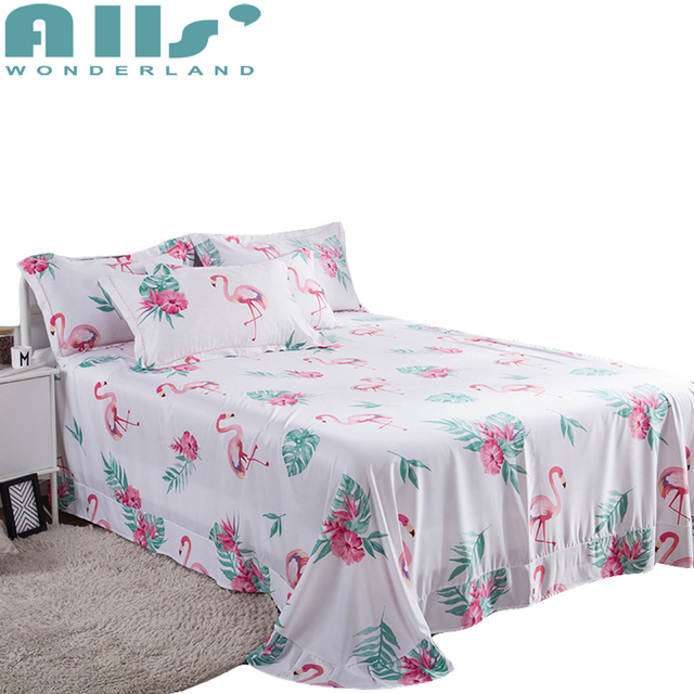 Cute Flamingos Lyocell Sleep Sheet For Summer High Quality Tencel Queen And King Size 1pc Bed Sheets With 2pc Pillow Cases