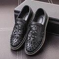 2017 Новый Корейский Камуфляж Мужской Бренд Моды Заклепки Случайные Дышащей Обуви Повседневная Обувь на Плоской Подошве Мужская Обувь