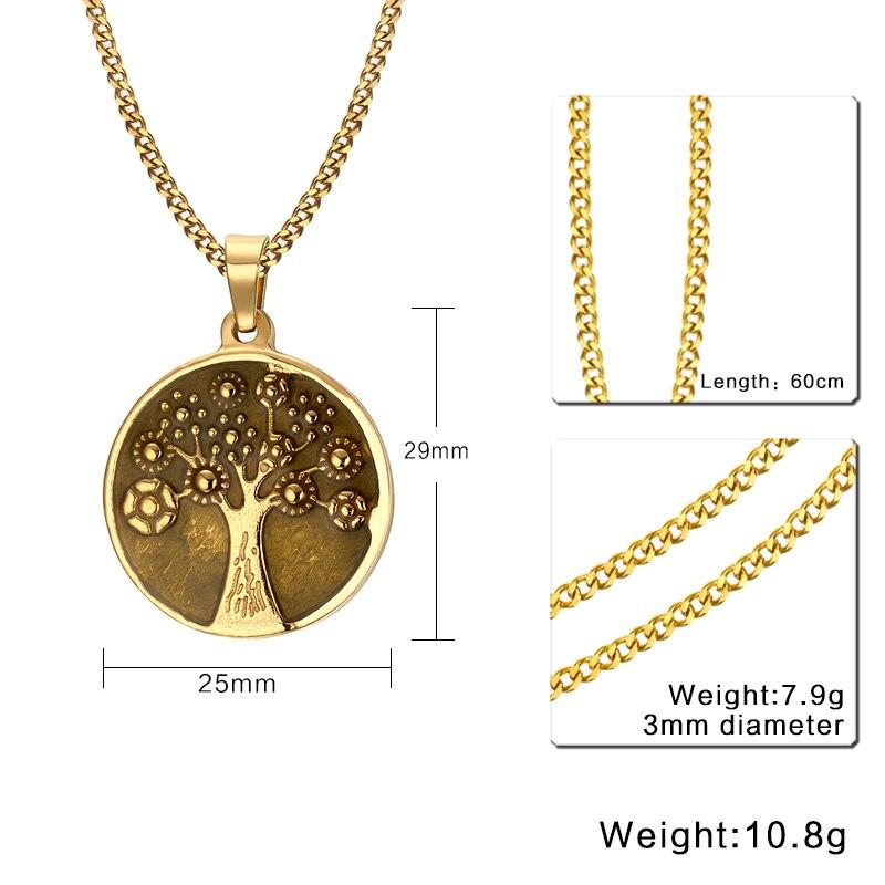 Men Coin Choker Necklace Gold Tone Antique Eternal Life Tree Symbol