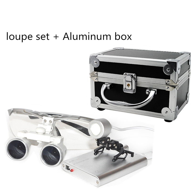 Silver New Dentist Dental Surgical Medical Binocular Loupes 3.5X 420mm Optical Glass Loupe Portable Light Clip+Aluminum Box xm portable dental binocular loupes 3 5x