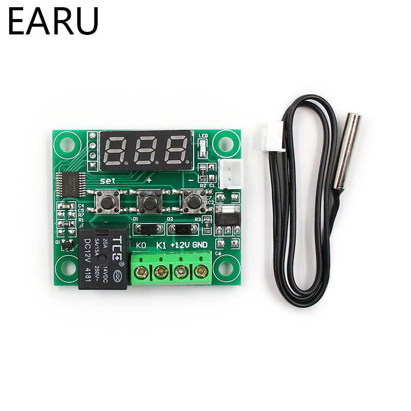 W1209 LED Digital Thermostat Temperature Control Thermometer Thermo Controller Switch Module DC 12V Waterproof NTC Sensor gy 26 digital compass sensor module green dc 3 5v